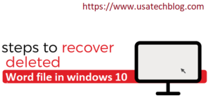 How to Recover Deleted Word Files in Windows 10
