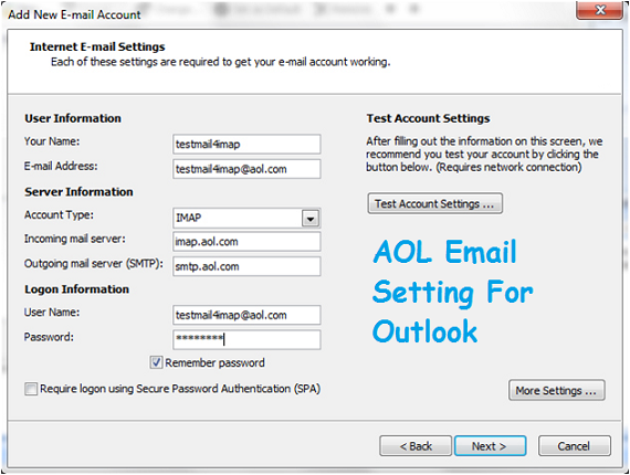 AOL Email Setting For Outlook