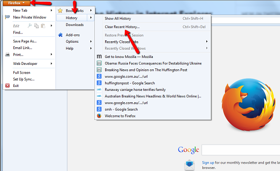 Erase the internet browser history in firefox