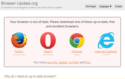 Update the web browser