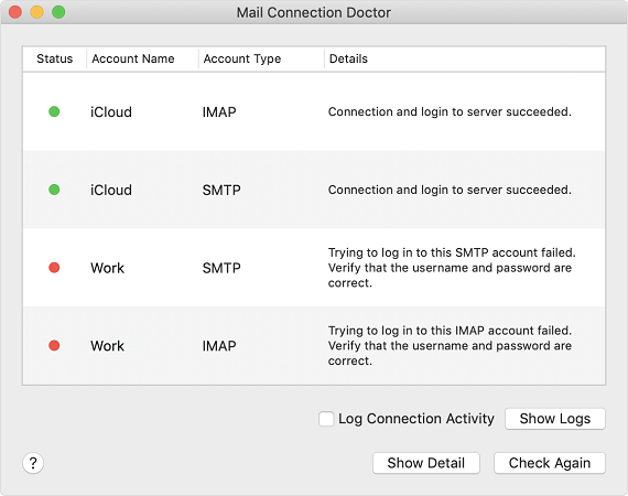 Using the Mail Connection Doctor