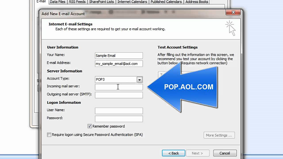 aol pop settings for outlook