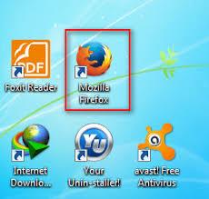 "click on the ""Mozilla Firefox"" desktop icon."