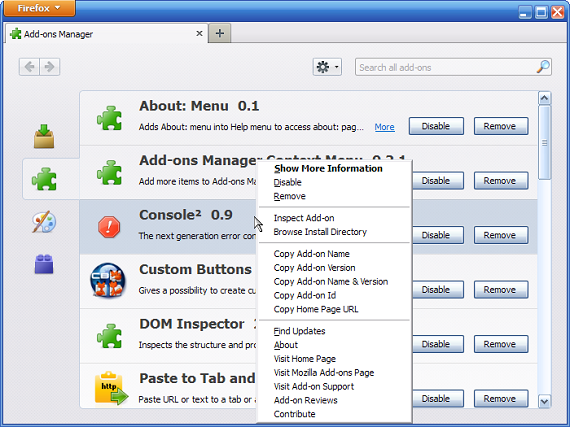 firefox add on manager