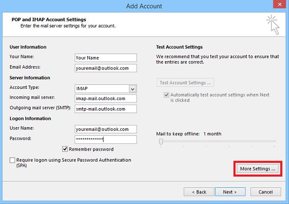 hotmail pop and smtp settings