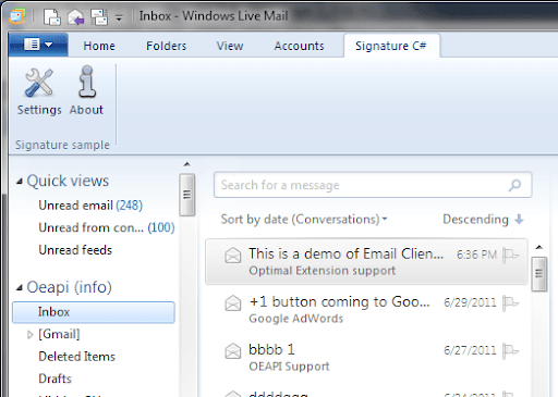 on the windows live mail