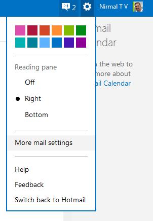 select more mail settings