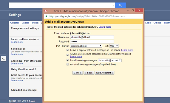 transfer sbcglobal mail to gmail