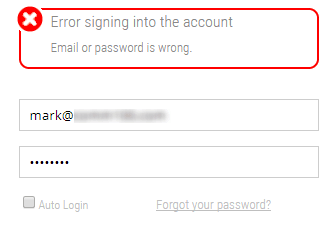 wrong password error