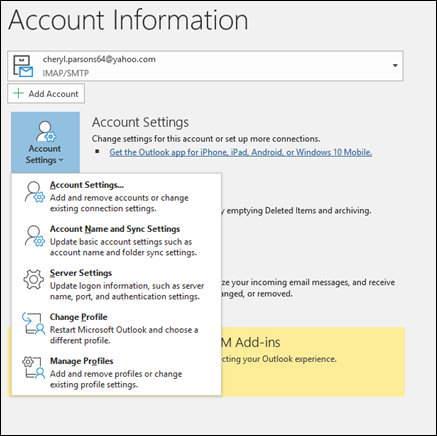 Choose Manage profile from the options in outlook