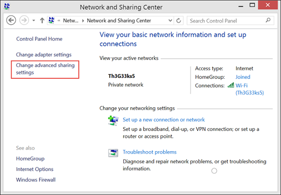Click on Change Advanced Settings on the next window