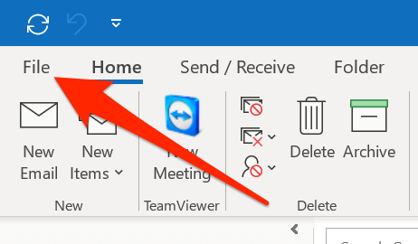 Click on File at the upper left corner in outlook