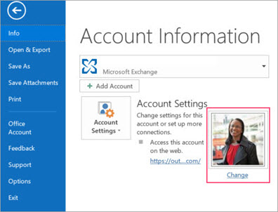 Click on change profile in outlook