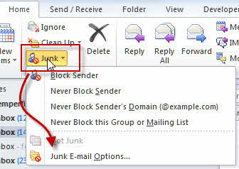 Go to Home of Outlook screen and click on junk email