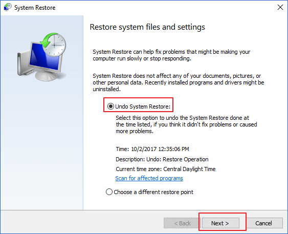 Select Undo Changes with System Restore