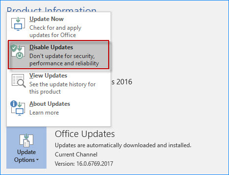 auto update feature is disabled in outlook