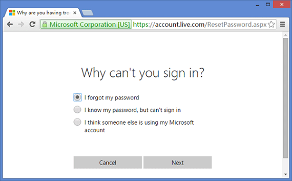 check the forgot password page in the top of the page on hotmail