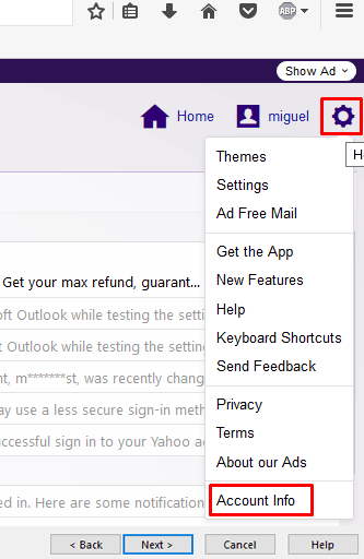 choose the gear icon in yahoo and select account info