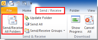 click Send/Receive button in outlook