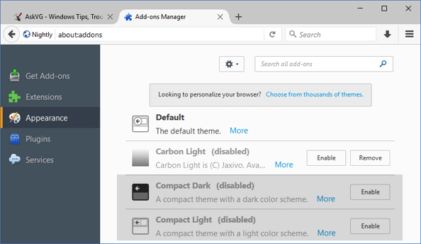 click on Add ons Manager in firefox and select appearance