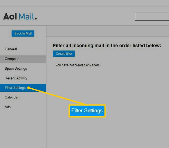 delete filter setting in aol mail