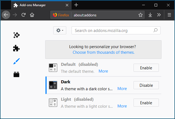 enable Default option in firefox appearance