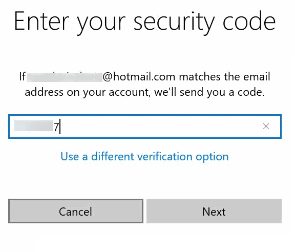 enter the security code into the web page