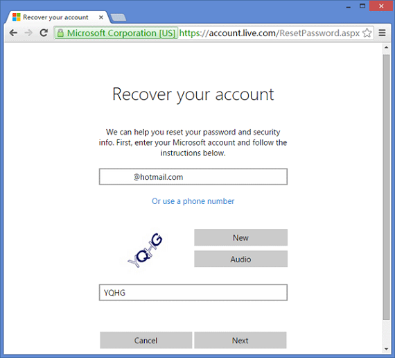 hotmail account recovery page