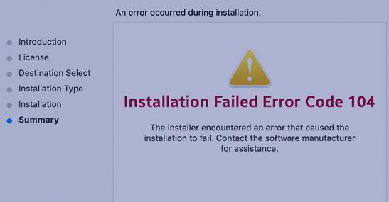 installation failed