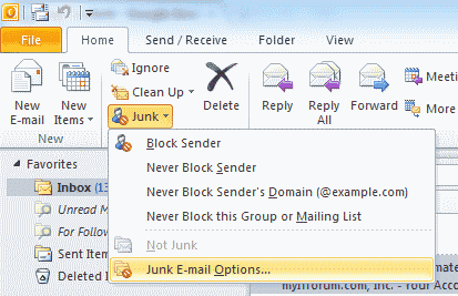 junk email settings