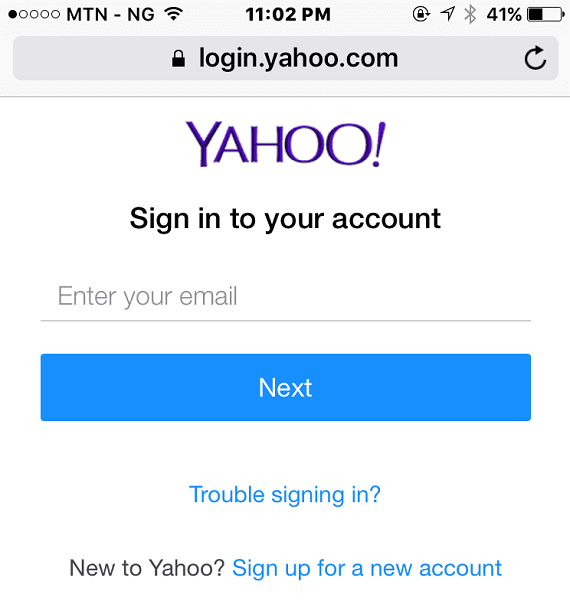 login yahoo on mobile