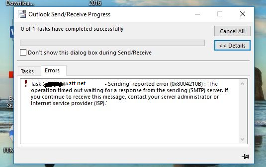 Unable to send ATT mail on Outlook