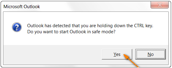 hold the CTRL key and start Outlook