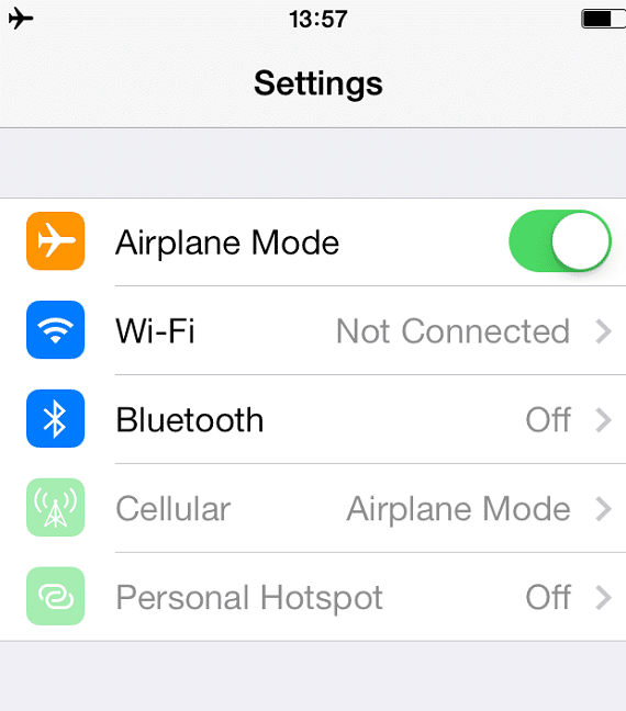 Turn off the airplane mode in iPhone from the Control Panel settings.