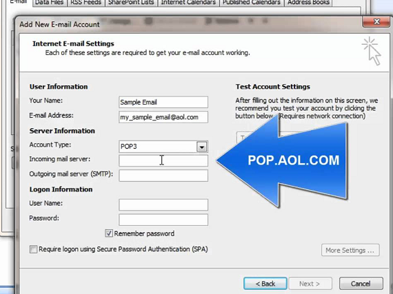 aol pop 3 settings
