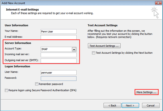 click more settings in outlook