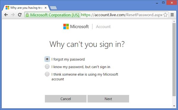 forgot msn password